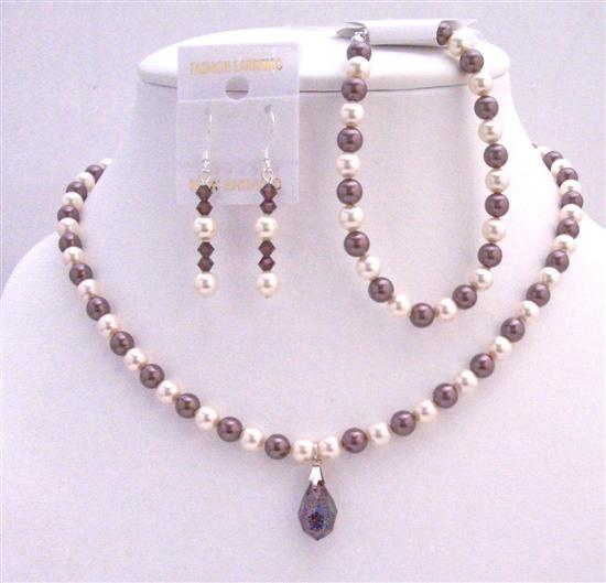 Ivory Burgundy Pearls Bridal Swarovski Necklace Custom Wedding Jewelry
