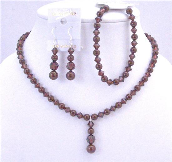 Primary image for Wine Color Bridal Jewelry Meroon Pearls Burgundy Crystals Complete Set