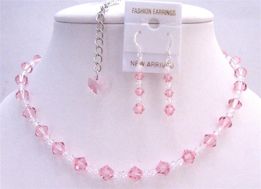 Back Drop Heart Bridal Necklace Set Swarovski Pale Pink Clear Crystals