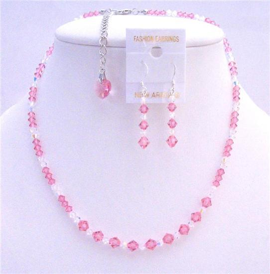 Rose Swarovski Crystals Bridal Jewelry Clear Crystals Necklace