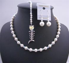 Back Extension & Back Drop Pearls Crystals AB Heart Wedding Jewelry - $69.30