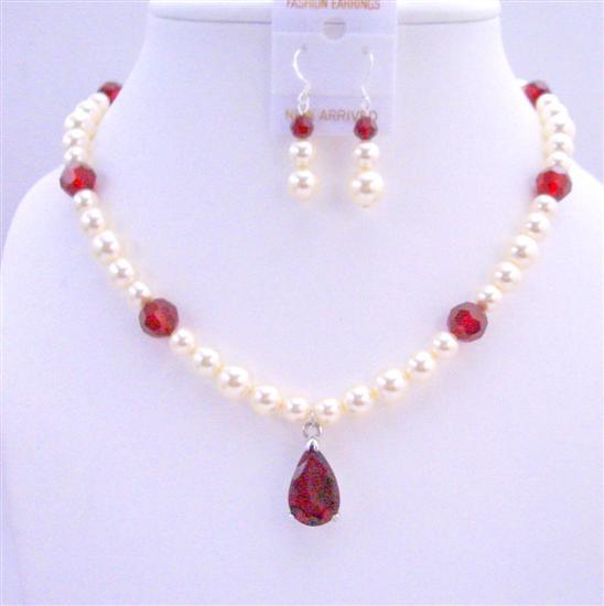 Primary image for Handcrafted Custom Bridal Jewelry Cream Pearls Siam Red Crystals Set