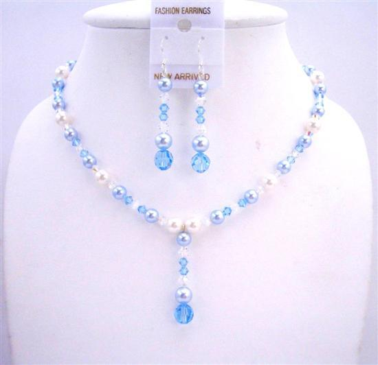 White Pearls Aquamarine Pearls Crystals AB Crystal Swarovski Jewelry