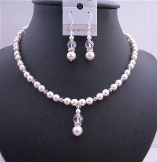 Primary image for Handmade Jewelry Set Swarovski White Pearls & Clear Crystals