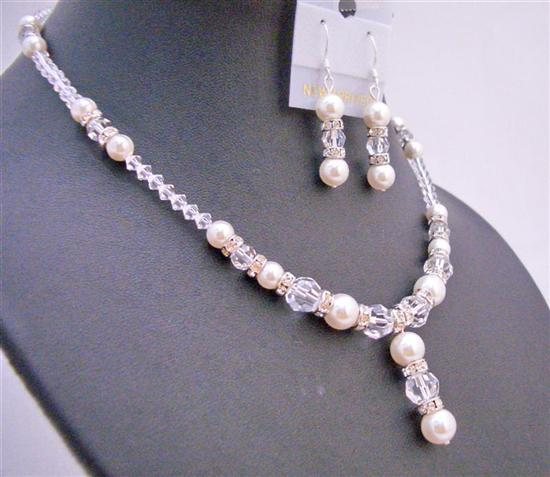 Necklace Swarovski Set Off White Pearls Clear Crystals Silver Rondells
