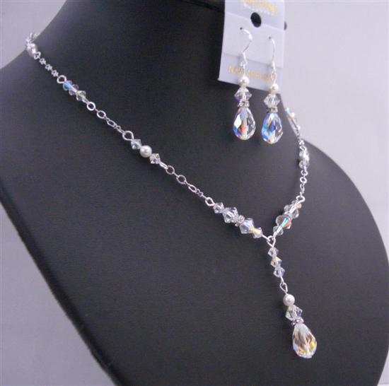 Primary image for Custom Jewelry AB Crystals White Pearls Multifaceted AB Briollett Set