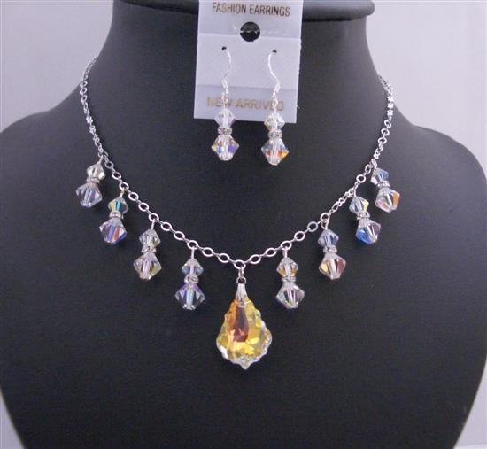Primary image for AB Baroque Pendant Swarovski AB Crystals AB Bicone Formal Jewelry Set