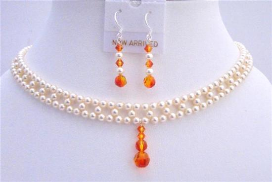 Bridal Jewelry Swarovski Ivory Pearls Fire Opal Crystals Drop Down Set