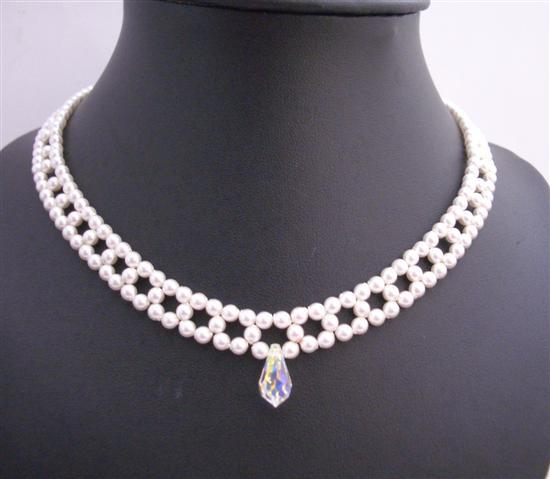 Bridal White Pearls Choker Necklace AB Crystals Teardrop Handcrafted