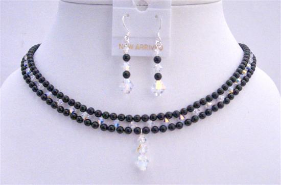 Primary image for Black Swarovski Pearls Necklace Handmade Bridal Jewelry w/ AB Crystals