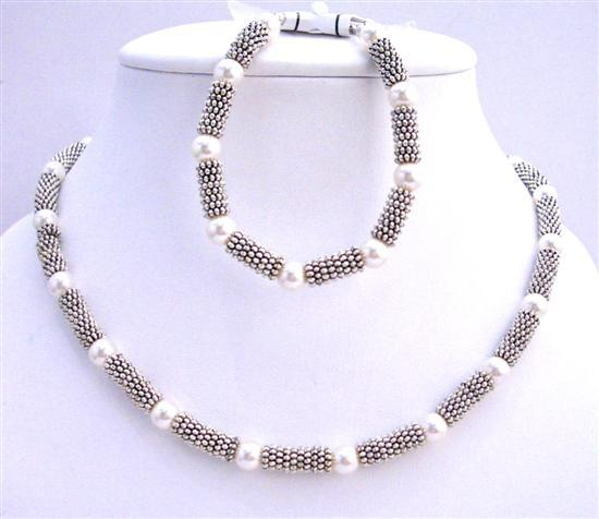 Primary image for White Pearls 7mm Bridal Necklace & Bracelet w/ Bali Silver Accented