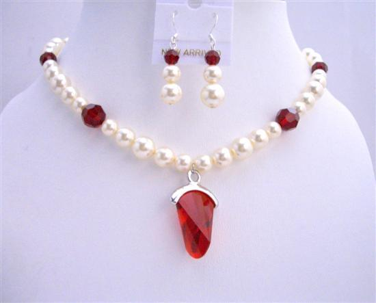 Primary image for Cream Pearls w/ Siam Red Crystals Pendant Wedding Bridal Jewelry Set