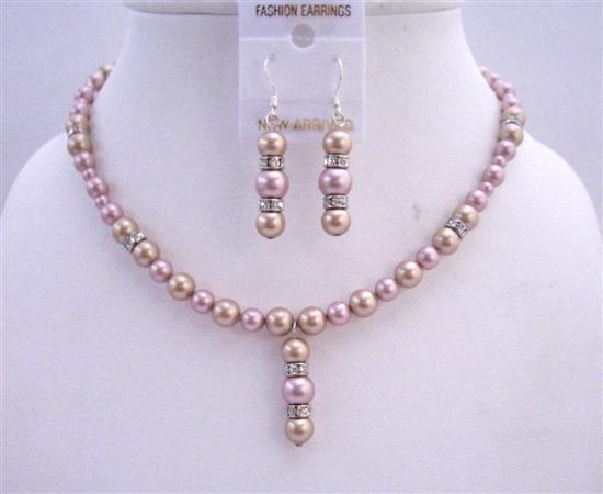 Two Shaded Swarovski Pearls Bridal Jewelry Champagne Rose w/ Rondells