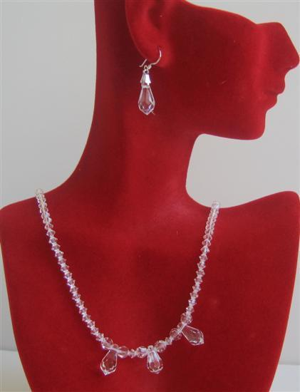 Primary image for Swarovski Clear Crystals w/ 3 AB Teardrop Crystals Bridal Necklace Set