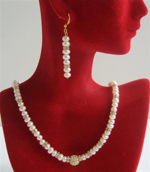 Primary image for Freshwater Pearls Potato Beads Necklace Set w/ Gold Rondells Jewelry