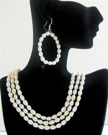 Rice Freshwater Pearls 3 Stranded Bridal Bridesmaid Wedding Jewelry Se