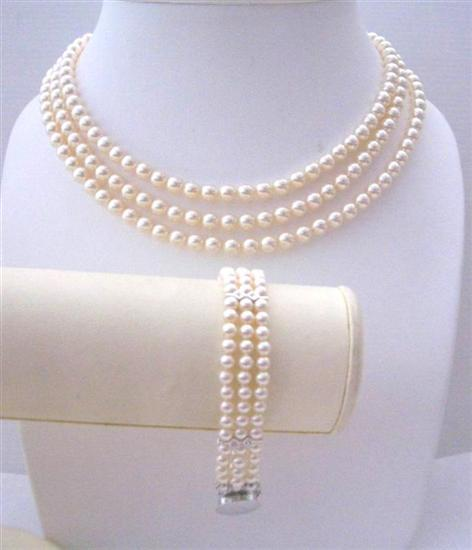 Handcrafted Ivory Swarovski Pearls Three Stranded Necklace Bracelet