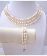 Handcrafted Ivory Swarovski Pearls Three Stranded Necklace Bracelet - $91.40