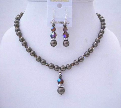 Swarovski Dark Brown Crystals & Pearls Handmade Wedding Jewelry Set