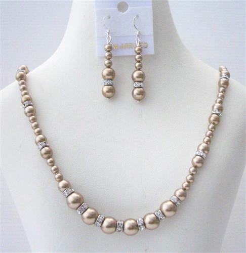 Primary image for Handcrafted Custom Jewelry Swarovski Bronze Pearls Silver Rondells