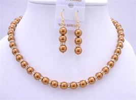 Bridal Copper Pearls Jewelry Set Gold Rondells Spacer 22k Gold Plated - $74.48