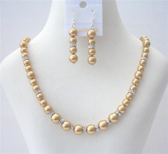 Golden Pearls Bridal Bridesmaid Swarovski Handcrafted Rondell Jewelry