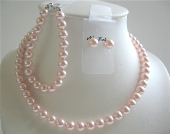 Lite Pink 8mm Pearls Bridesmaid Jewelry Swarovski Handcrated Set