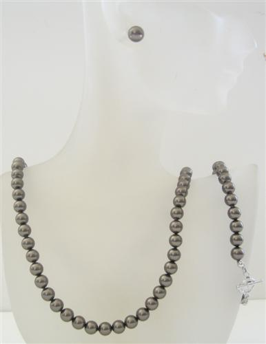 Espresso Brown Swarovski Dark Brown Pearls 7mm Necklace Earrings Set