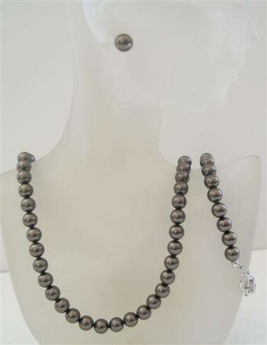 Primary image for Swarovski Dark Brown Espresso Pearls 8mm Complete Set Necklace Earring