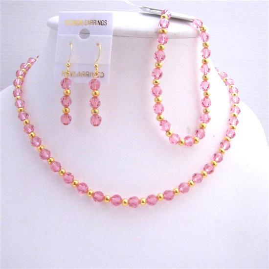 Primary image for Rose Pink Swarovski Crystals Necklace Earring Bracelet Jewelry