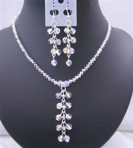 Primary image for Swarovski AB Crystals Danglng Drop Necklace & Earrings Jewelry Set