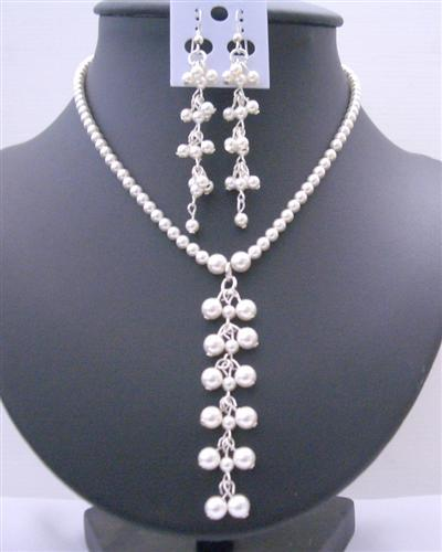 Primary image for White Pearls Swarovski Pearls Drop Necklace Earrings Jewelry
