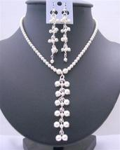 White Pearls Swarovski Pearls Drop Necklace Earrings Jewelry - $47.18