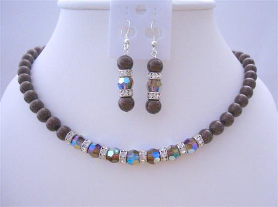 Primary image for Meroon Pearls Swarovski Smoked Topaz 2X Crystals Necklace Set