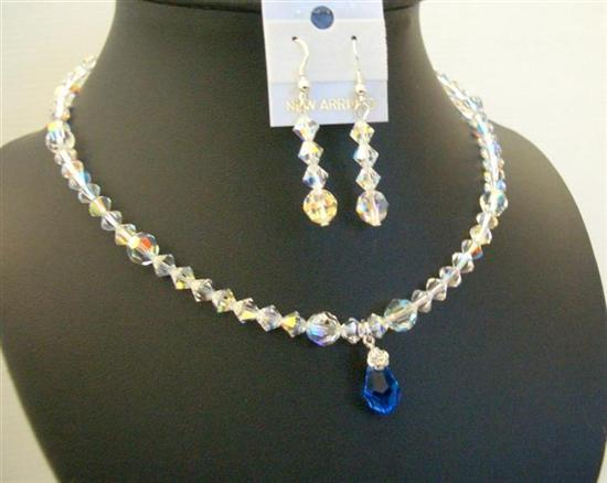 AB Swarovski Crystals Sapphire Crystal Teardrop Wedding Bridal Jewelry