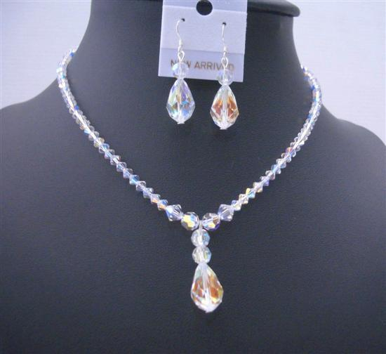 AB Crystals Teardrop Irridescent Crystals Swarovski Bridal Jewelry Set