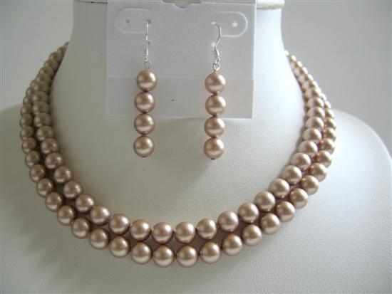 Primary image for Champagne Pearls Double Stranded Necklace Swarovski Bridal Jewelry Set