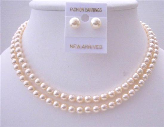 Primary image for Bridal Jewelry Ivory Pearls 6mm Double Stranded Necklace Set