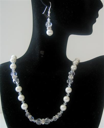 Primary image for Bridal Jewelry Swarovski White Pearls Clear Crystals Handmade Necklace