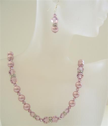 Powder Rose Pearl Amethyst Swarovski Crystal Wedding Party Necklace Se