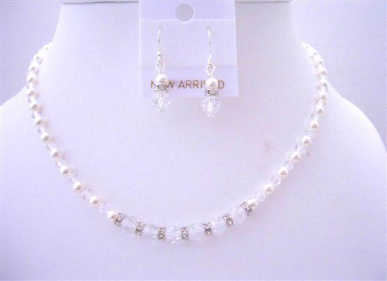 Custom Handcrafted Flower Girl Swarovski Crystals Pearls Jewelry Set