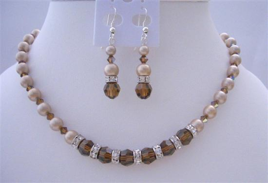 Bronze Pearls Smoked Topaz Crystals Silver Rondells Bridal Jewelry Set