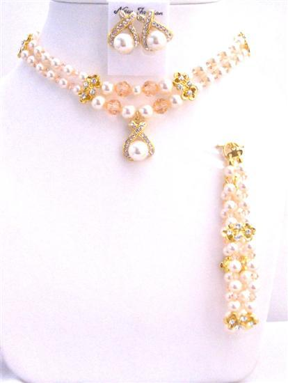 Ivory Pearls Peach Swarovski Crystals Double Stranded Bridal Necklacer