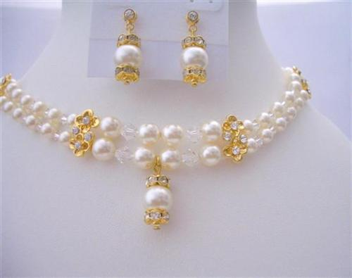 Primary image for Bridal Dream Jewelry Double Stranded Swarovski Pearls Crystal Necklace