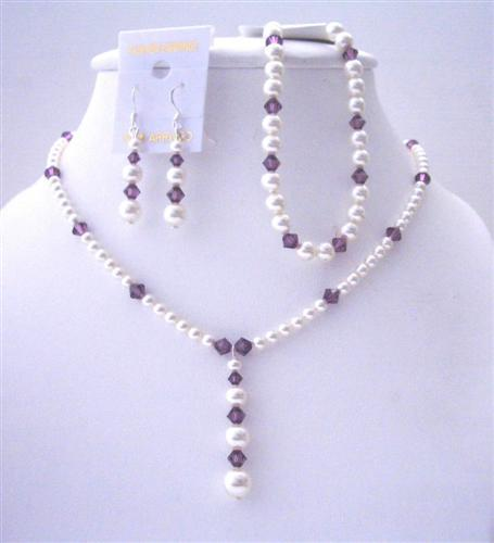 White Pearls Amethyst Crystals Custom Necklace Earrings & Bracelets