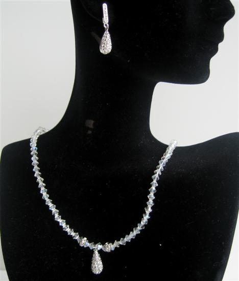 Primary image for Moonlite Swarovski Crystals Rondells w/ Cubic Zircon Teardrop Jewelry