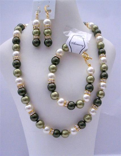 Primary image for Handcrafted Light Green Pearls Gold Rondells Bridemaid Jewelry
