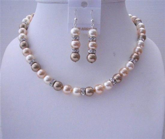 Primary image for Cream Bronze Peach Swarovski Pearls Handcrafted Jewelry Silver Rondell