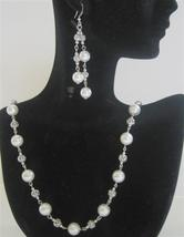 White Pearls Long Necklace 26 inches Swarovski Dangling Earring Bridal - $58.88