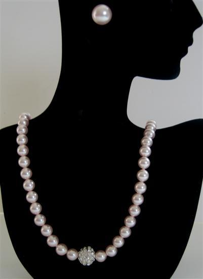 Rose Pink Pearls Necklace Cubic Zircon Embedded Pendant Party Jewelry